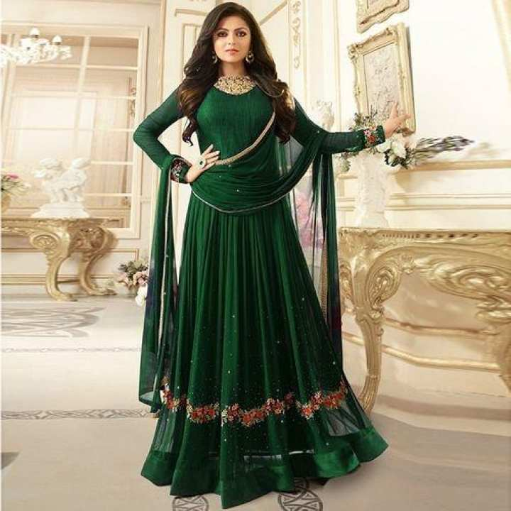 Unstiched Green Georgatte Gown For Women