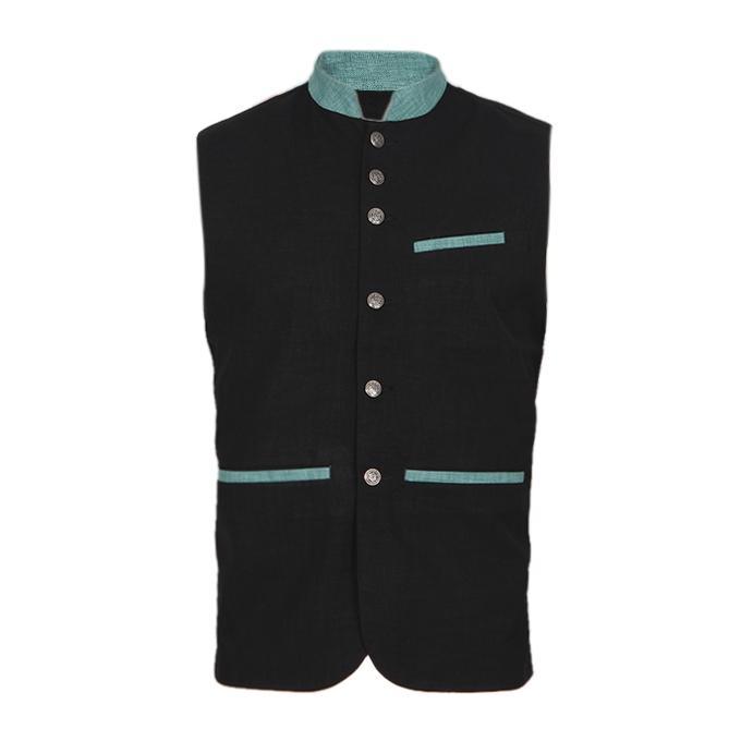 Black Cotton Casual Ethnic Vest For Men