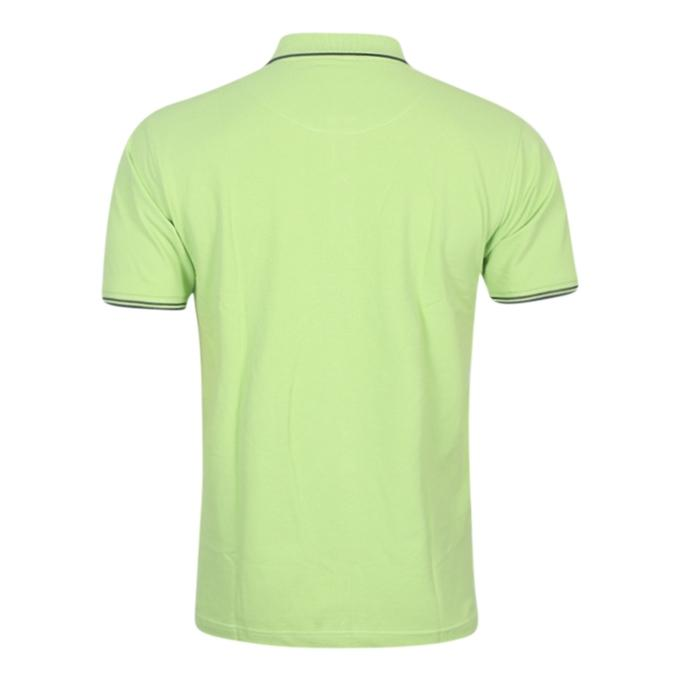 Lime Green Cotton Casual Polo For Men