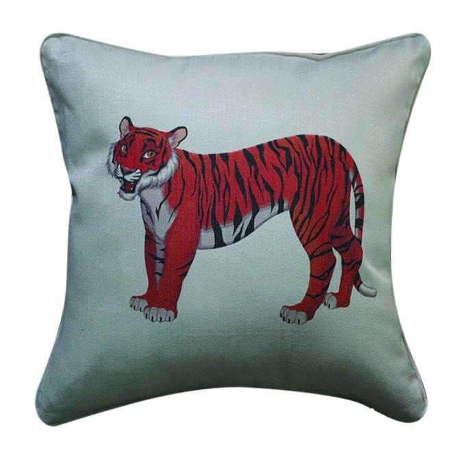 Tiger Printed Cushion Cover - Gray