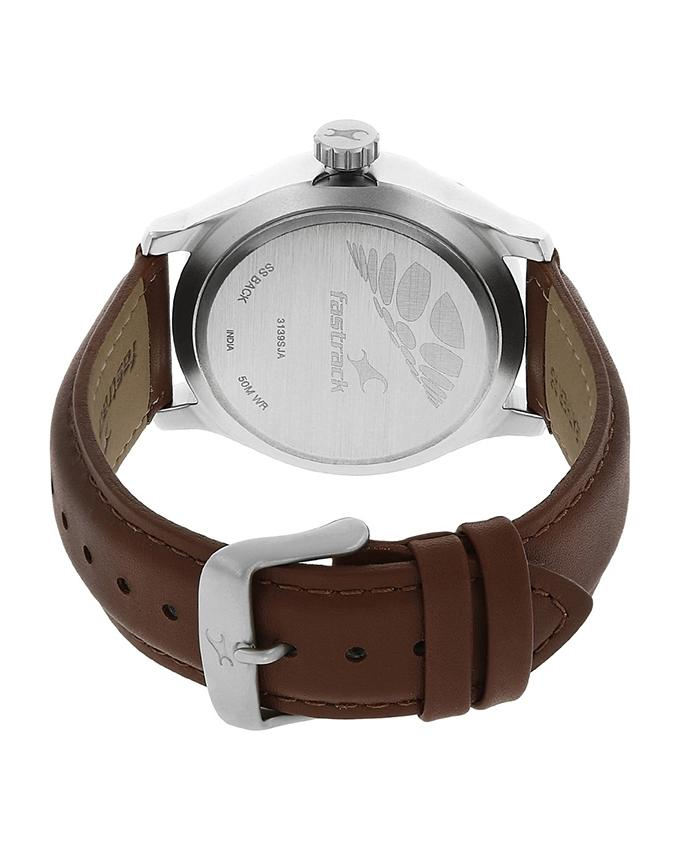 3139SL02 - Leather Analog Watch For Men - Brown