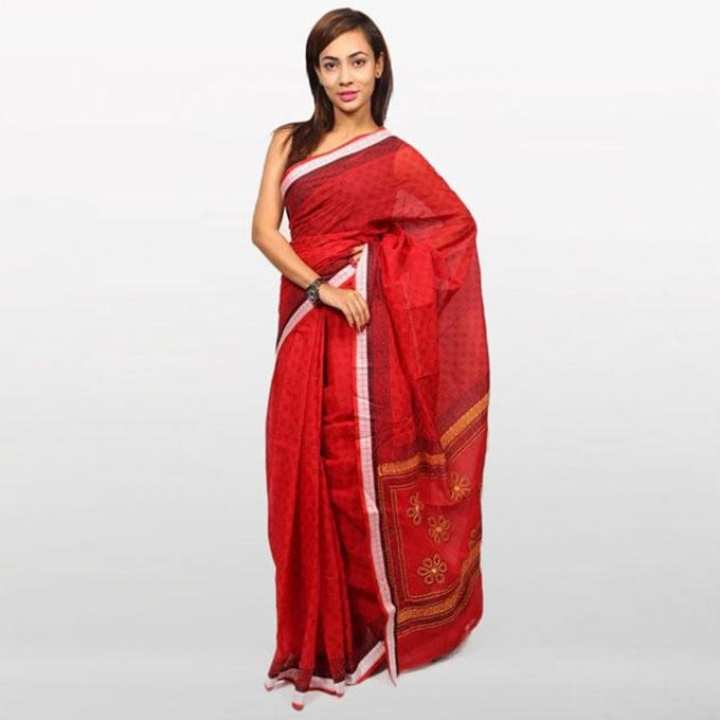 Red Cotton Saree For Women