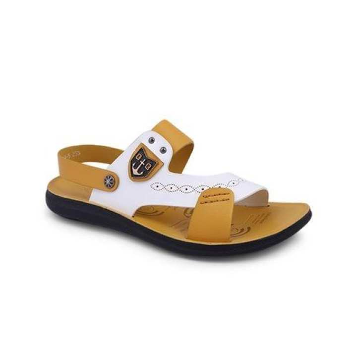 PU Sandal For Men - Yellow and White