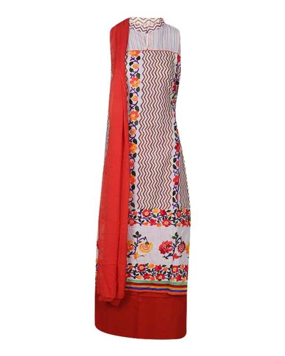 Cotton Unstitched Salwar Kameez With Pure Dopatta For Women - Red and White