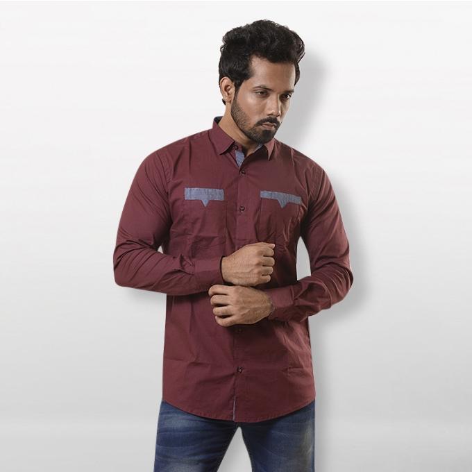 Maroon Cotton Shirt For Men