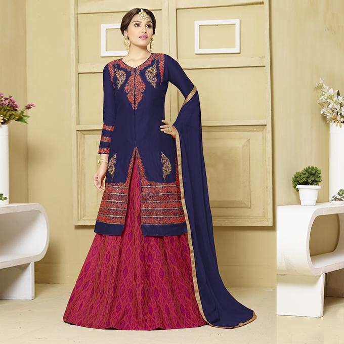 Navy Blue and Dark Red Glace Cotton Unstitched Indian Shalwar Kameez For