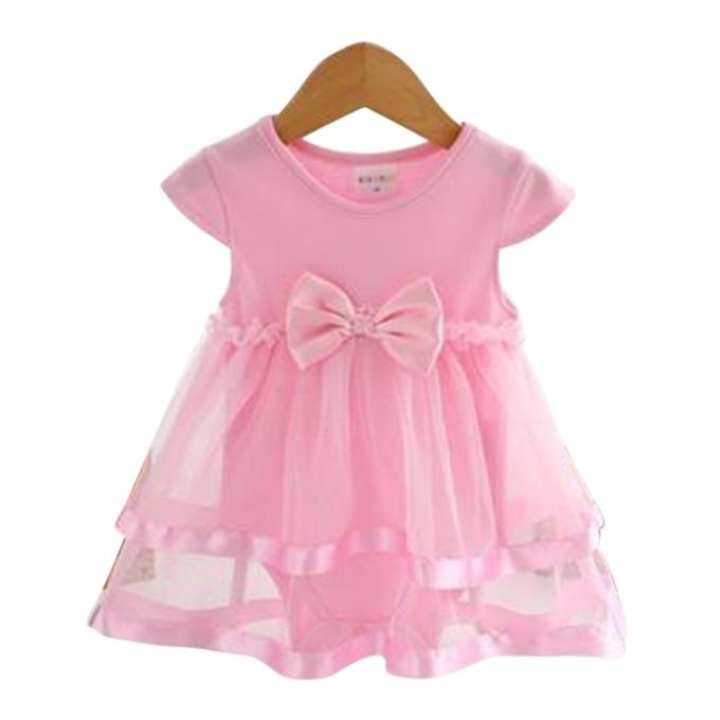 Pink Cotton Party Dress For Girls