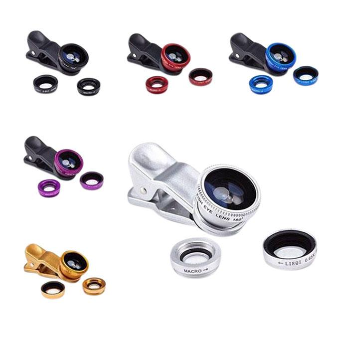 Universal 3in1 Clip Lens For Mobile Phone - Blue