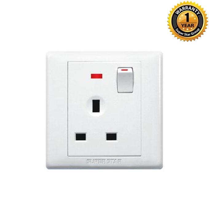 Rose Series Rose 3 Pin Socket With Neon - White