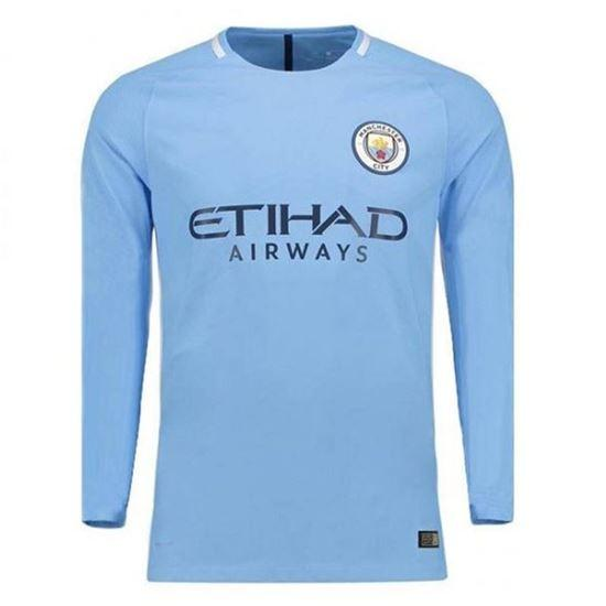 1d38f95bf Product details of Polyester Long Sleeve Manchester City 2017 18 Home Jersey