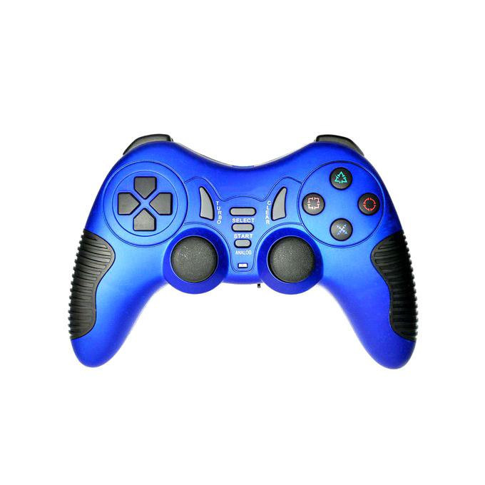 USB Wired Dual Vibration Gamepad - Blue and Black