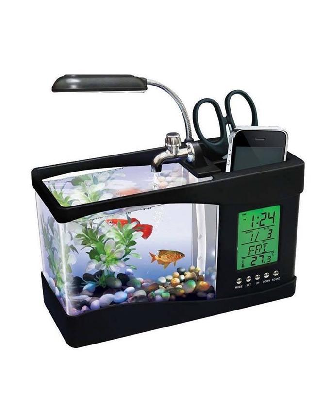 USB Desktop LCD Clock With Aquarium  - Black