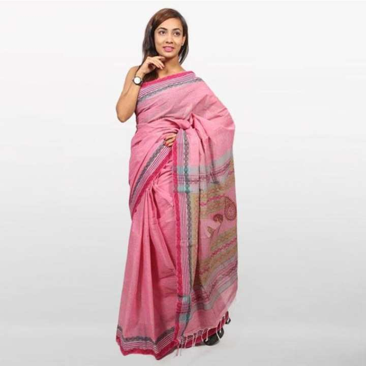 Light Pink Cotton Saree For Women