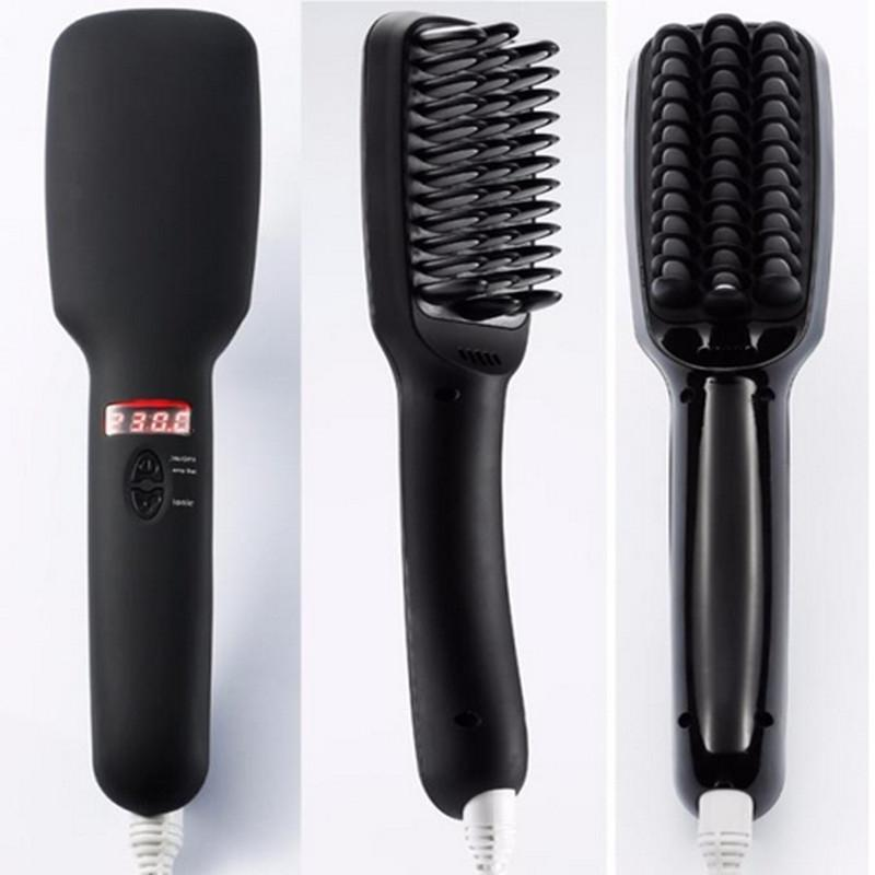 2 in 1 Heating Automatic Electric Hair Straightener Brush - Black