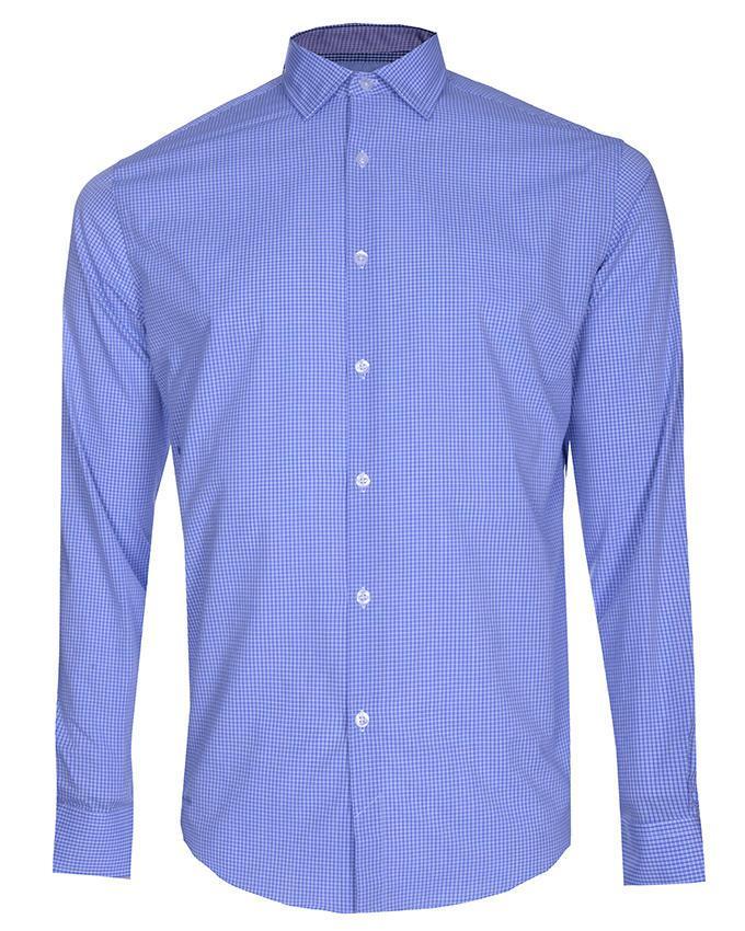Cotton Check Long Sleeve Shirt - Sky Blue