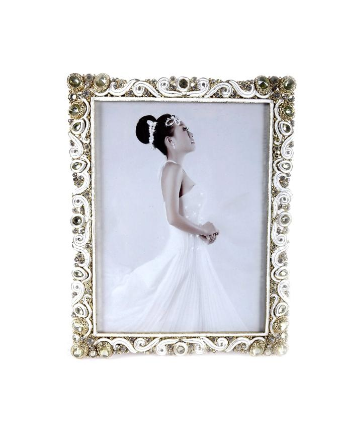 Bejeweled Photo Frame With Stand - 6R - Silver and Golden