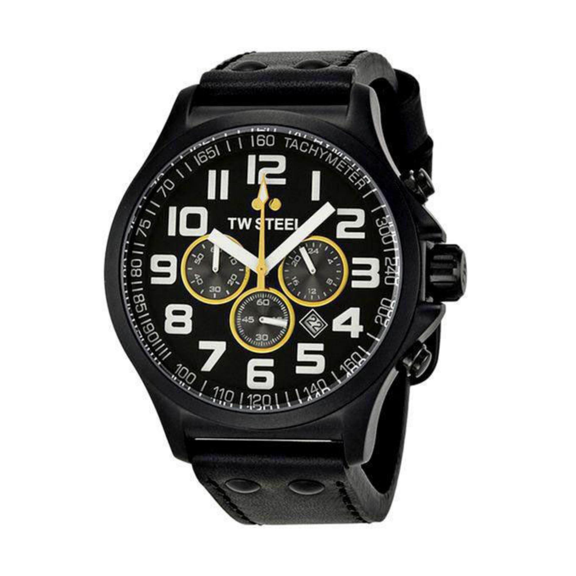TW677R Leather Chronograph Watch for Men - Black