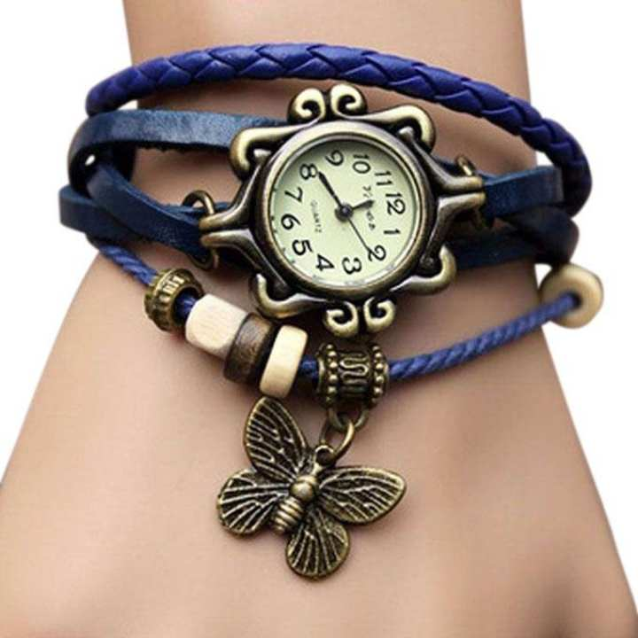 Ladies Bracelet Type Wrist Watch - Navy Blue
