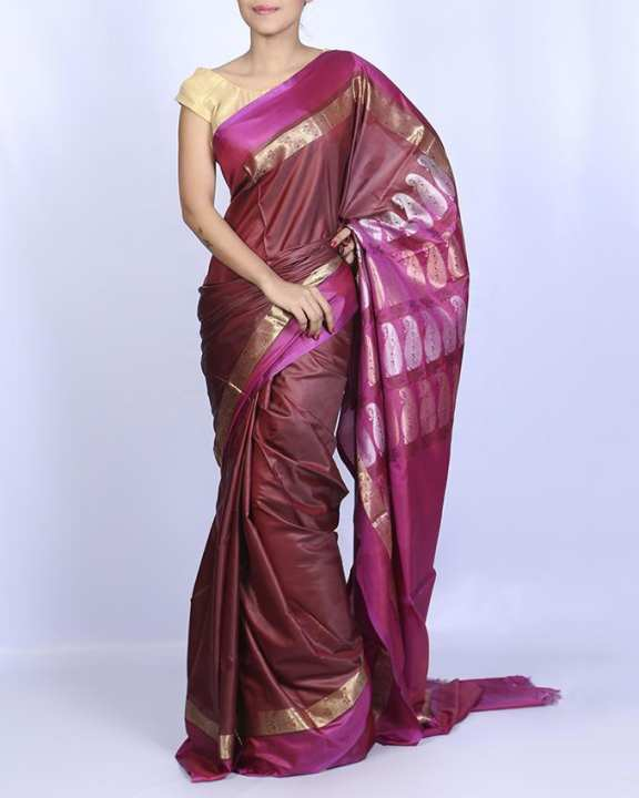 Katan Silk Party Saree - Chocolate and Purple shed