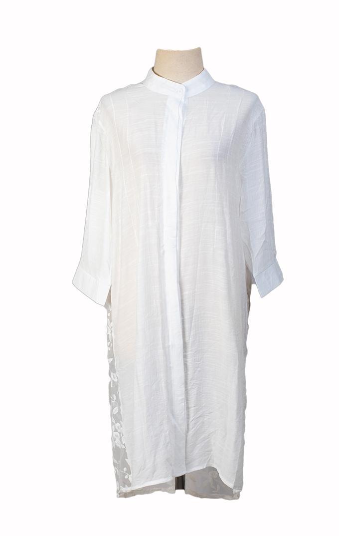 White Cotton Embroidered Shrug for Women