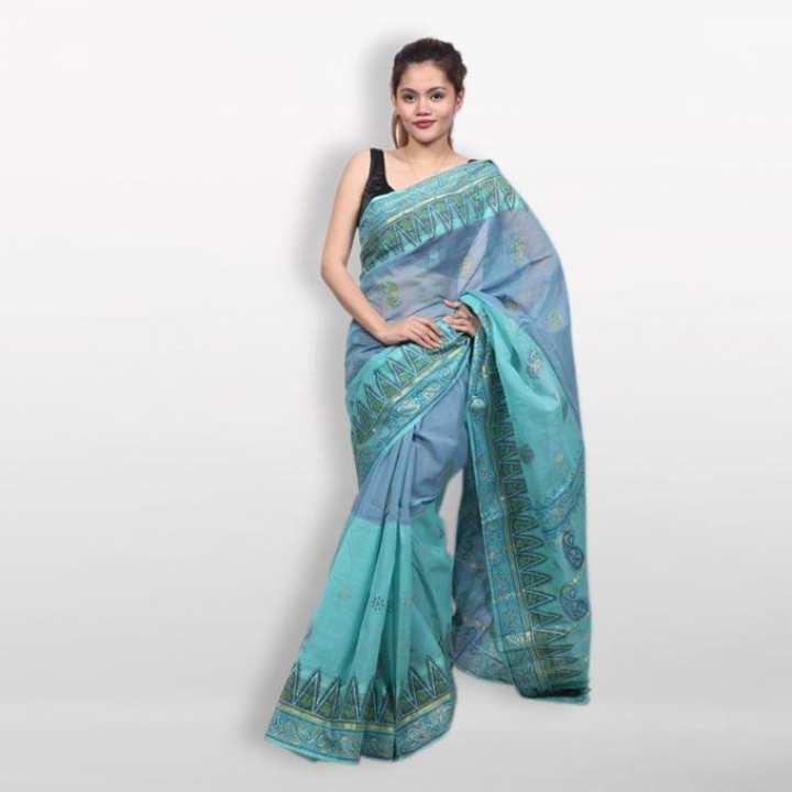 Turquoise Cotton Block Printed Saree for Women