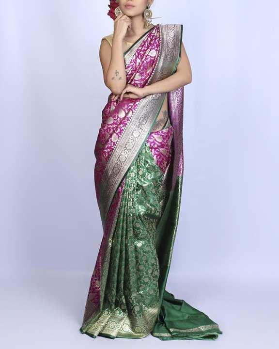 Katan Silk Bridal Saree - Dark Pink and Green