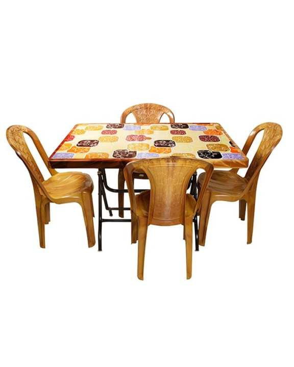 HPF02-14 Plastic Rectangular Dining Table-Print-S.Leg-Black - Brown With  HAMKO HPF01-06 Plastic Dining Heavy Chair - Gold -4 pcs