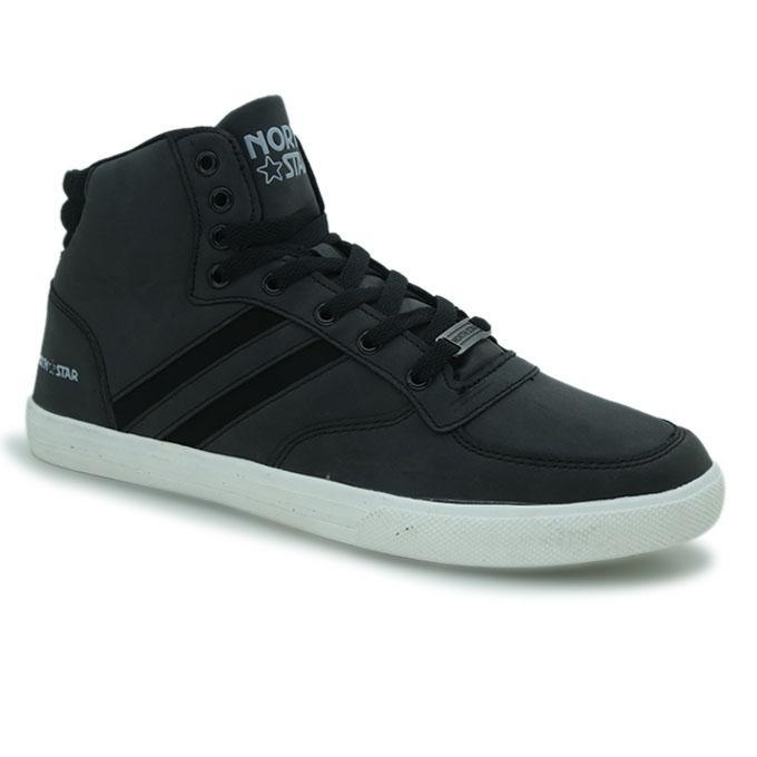 North Star Black PU Sneaker for Men