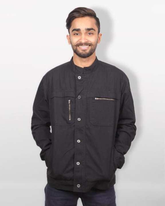 Cotton Casual Biker Jacket - Black