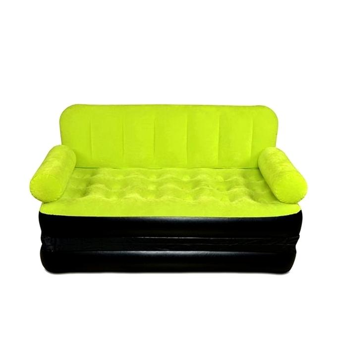Inflatable Double Air Bed Cum Sofa - Green Yellow