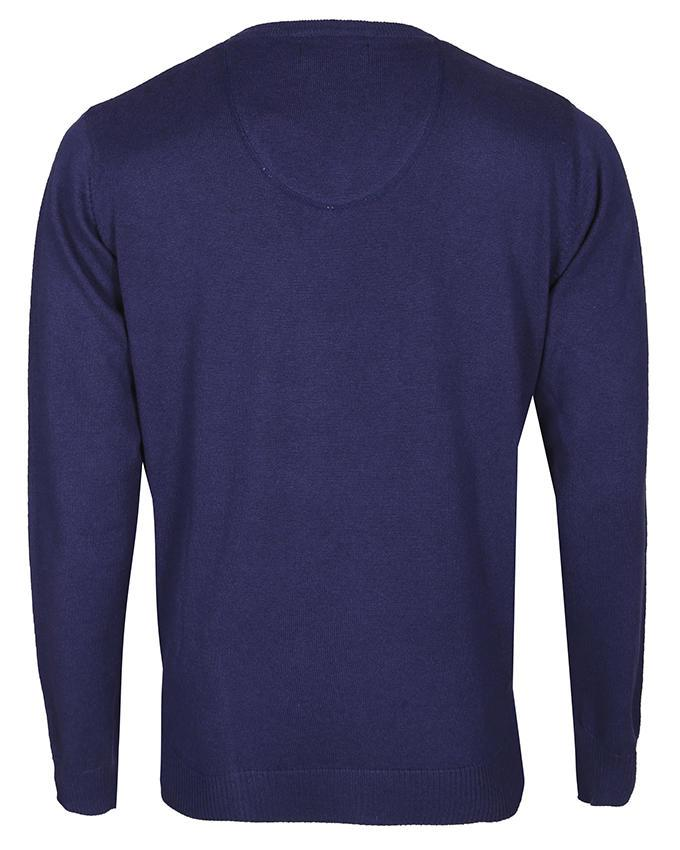 Cotton  Casual Long Sleeve Cashmere Mix Sweater - Navy