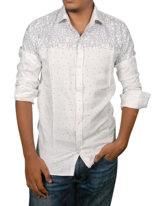White And Black Cotton Casual Shirt For Men