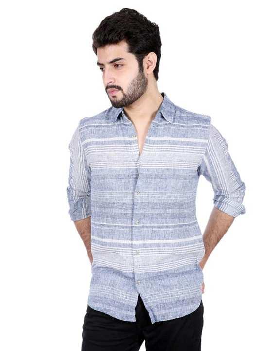 White and Light Blue Cotton Shirt For Men