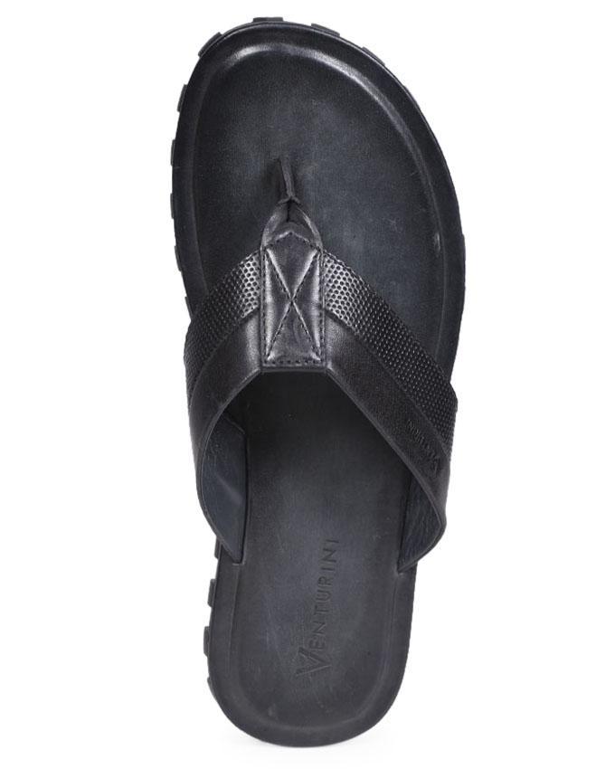 Venturini Black Smooth Leather Casual Sandal for Men