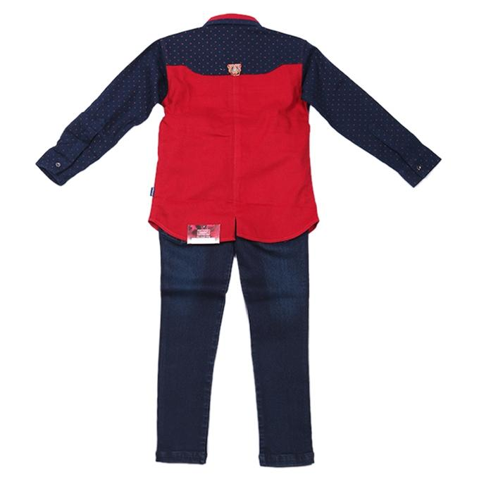 Red and Navy Blue Cotton and Denim Casual Full Set For Boys