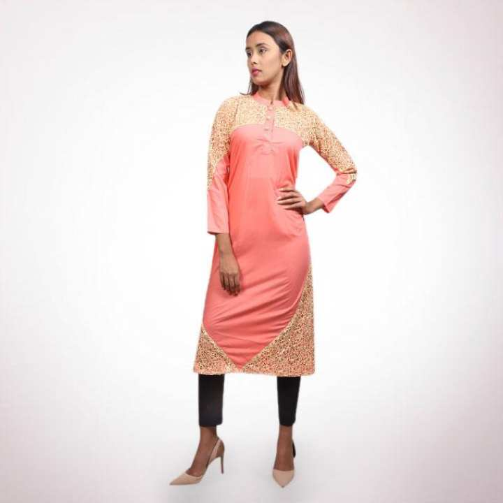 Light Coral Tory And Lace  Kurti for Women