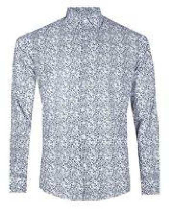 Cotton Casual Long Sleeve Printed Shirt - Black & White