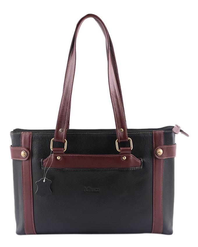 MIsace Leather Shoulder Bag For Women - Black