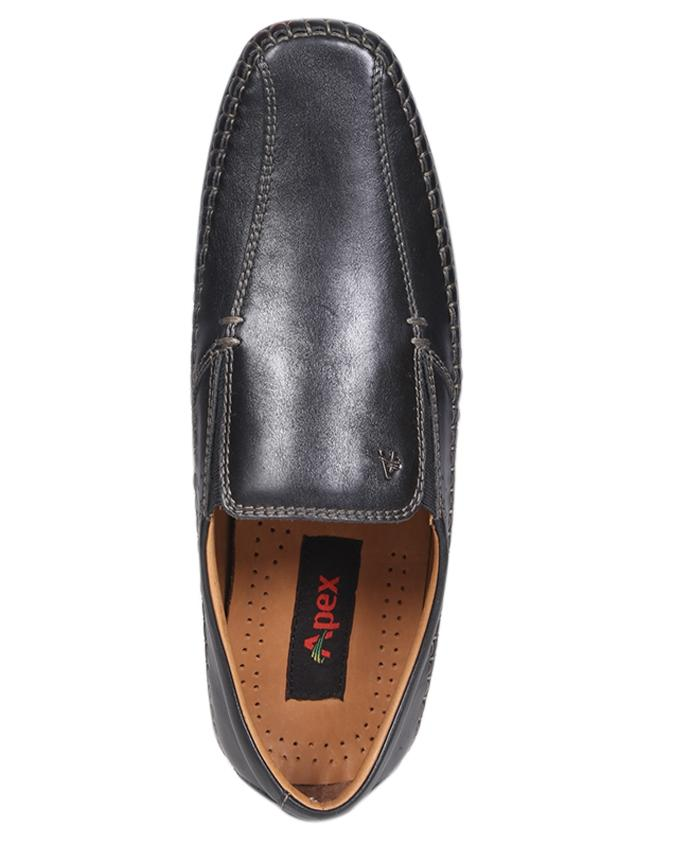 Black Smooth Leather Casual Loafer for Men