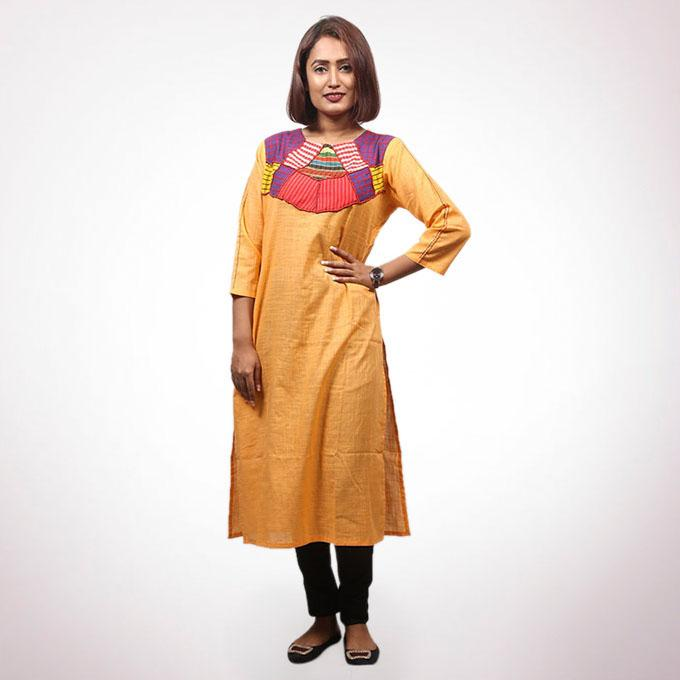 Light Orange Cotton Kurti For Women