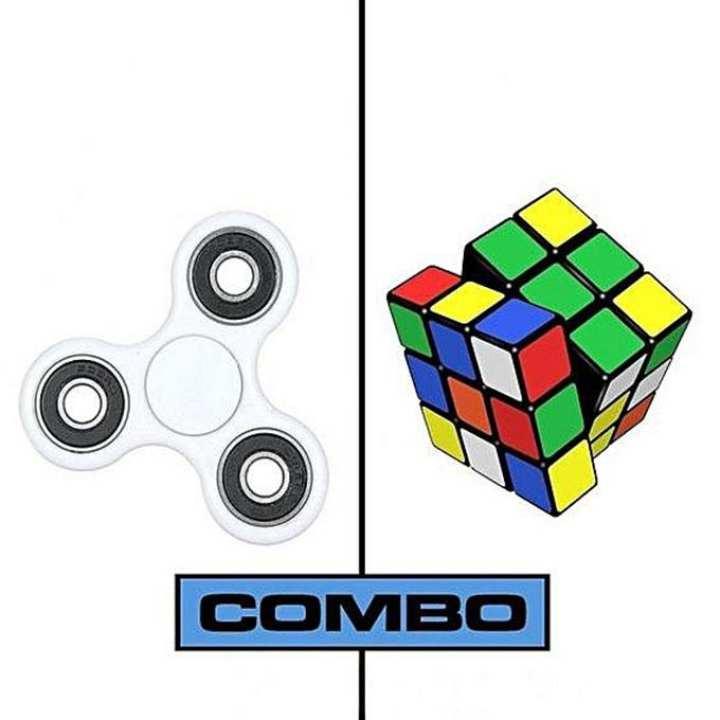 White X Fidget Spinner & Rubik's Magic Cube Combo