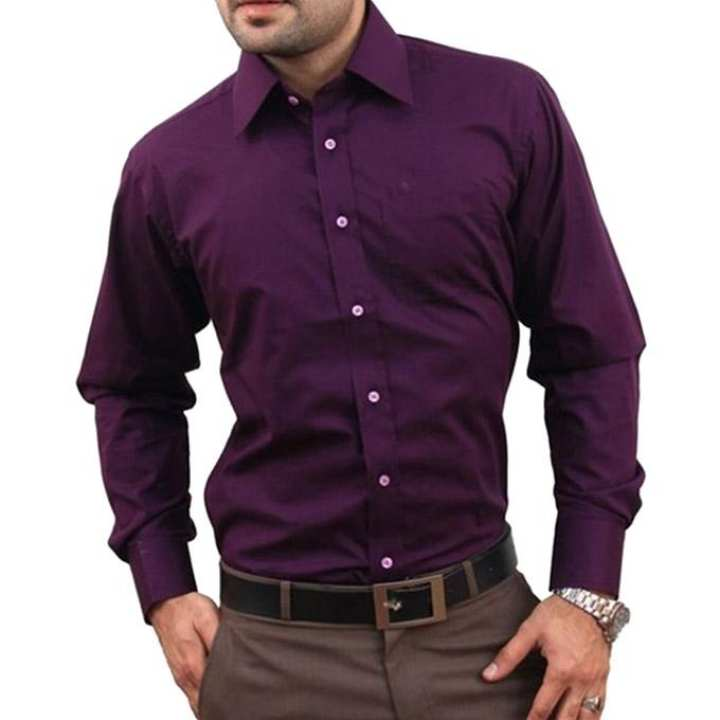 Purple Cotton Formal Shirt for Men