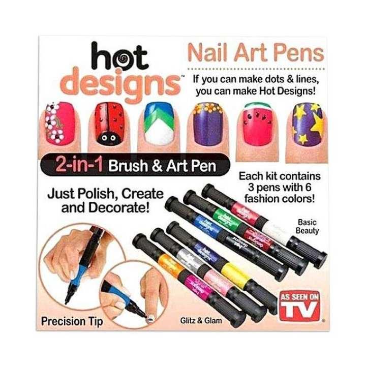 Hot Designs 8 in 1 Nail Art Pens - Multi Color