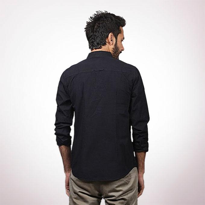 Black Cotton Casual Long Sleeve Shirt For Men