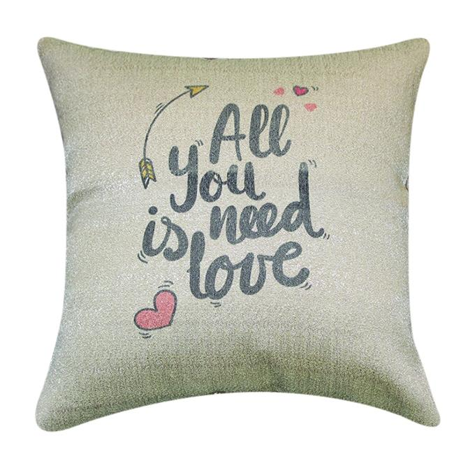 All You Need is Love Printed Cushion Cover - Off-white