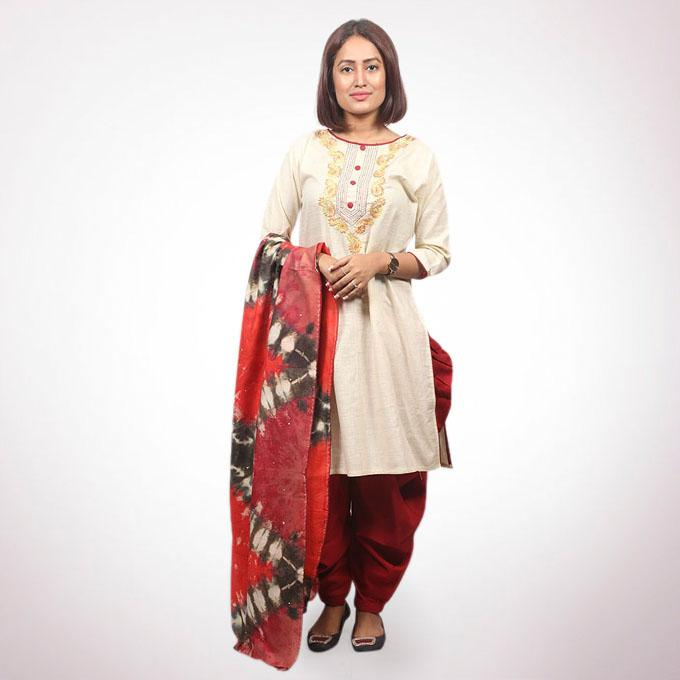 Off White And Maroon Cotton Salwar Kameez For Women