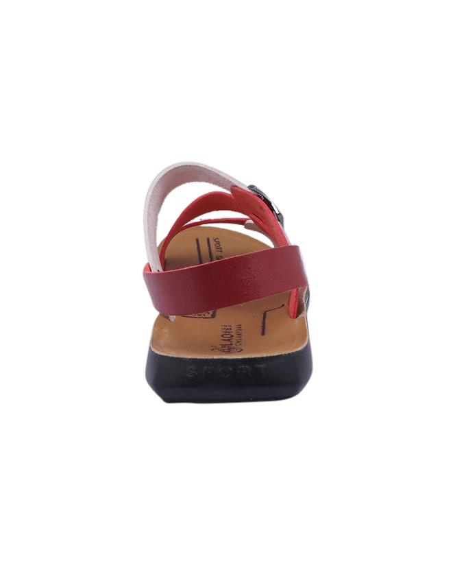 PU Sandal For Men - Dark Red and White
