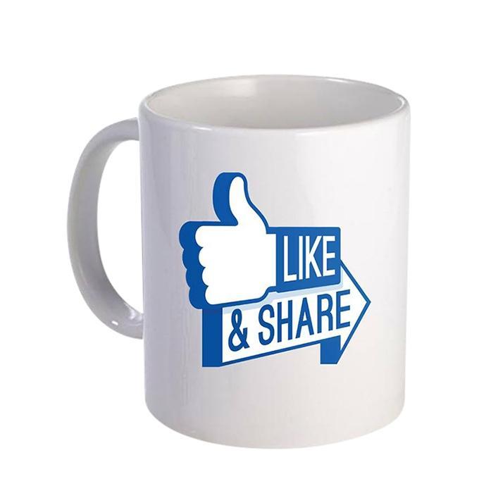 Like & Share Ceramic  Mug - White