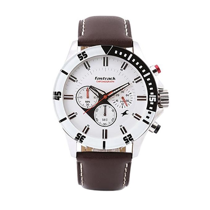 3072SL01 Leather Chronograph Watch For Men - Dark Chocolate