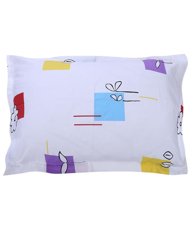 Cotton Printed Bed Sheet - White
